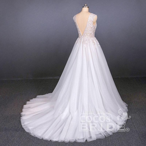 Sexy V Neck Tulle with Lace Appliques A Line Backless Wedding Dress_3