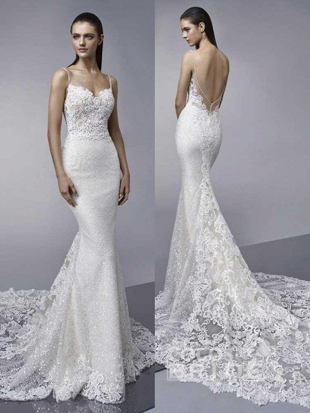 Elegant Backless Lace Mermaid Wedding Dresses_3