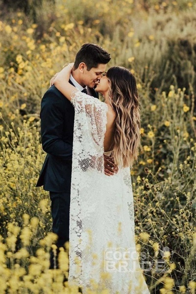 Ivory Boho with Batwing Sleeve Lace Rustic Backless Wedding Dress_3
