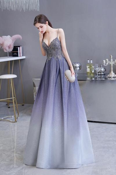 Elegant Spaghetti Straps Appliques Beads Ombre Prom Dress_5