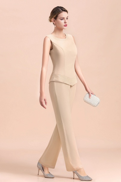 Two Pieces Champagne Long Sleeve Chiffon Mother of the Bride Dress With Jacket_9
