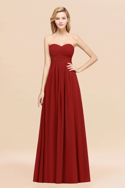 A-line Chiffon Sweetheart Strapless Ruffles Floor-length Bridesmaid Dress_48