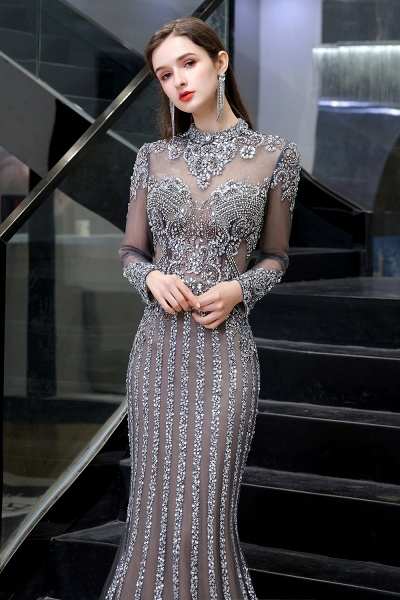 Long Sleeve Mermaid Sequins High-Neck Evening Gowns_9