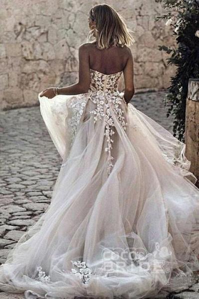 Boho Sweetheart Tulle Long Beach Charming Appliques Wedding Dress_2