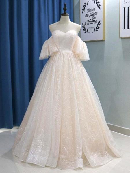 Off-the-Shoulder Half Sleeves Ball Gown Wedding Dresses_1
