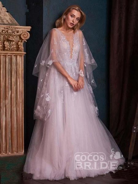 V-Neck Backless Tulle Ruffles Wedding Dresses_5