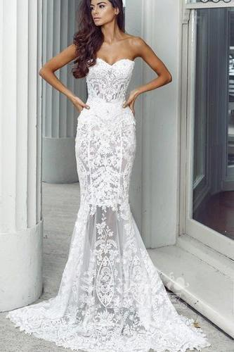 Mermaid Sweetheart Long Lace Appliques Sexy Wedding Dress_3