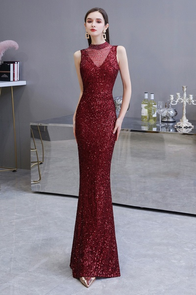 Gorgeous Mermaid Burgundy Sequins Long Prom Dress_3