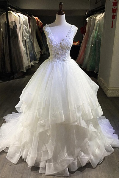 White Lace Open Back Long Pageant Lace Layered Wedding Dress_1