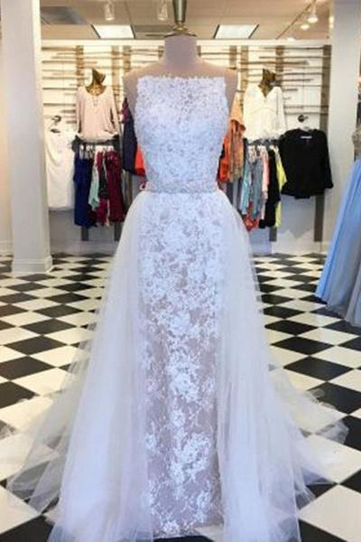 Elegant White Lace Column Long Wedding Dress_1