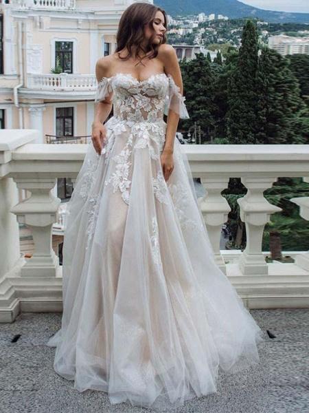 Off-the-Shoulder Lace Tulle A-Line Wedding Dresses_1