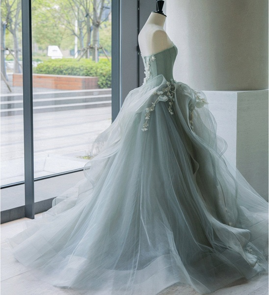 Sweetheart Gray Green Organza Long A Line Wedding Dress_2