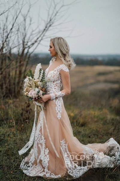 Amazing Long Sleeves Boho Lace Appliques Wedding Dress_3