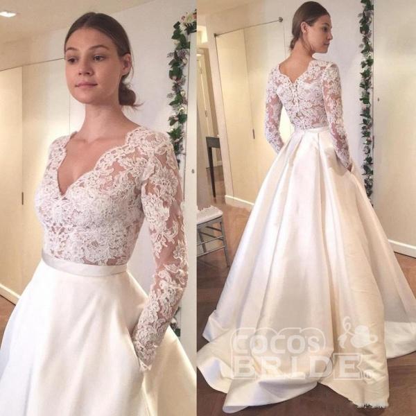 V Neck Long Sleeves Ruffles Wedding Dresses_2