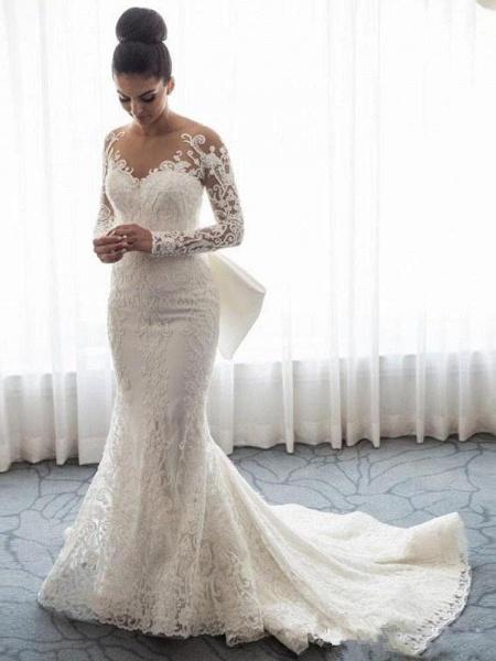 Long Sleeves Lace Mermaid Wedding Dresses_1