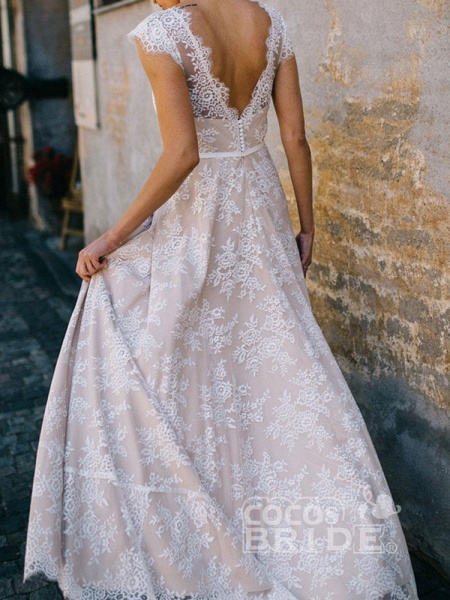 Boho Chic A Line Cap Sleeve Lace Wedding Dresses_4