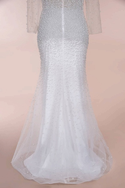 Precious Long Sleeve Beading Sheath Wedding Dress_16