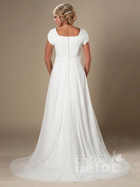Elegant Square Cap Sleeves A-Line Ruffles Wedding Dresses_2