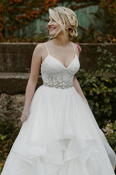 Charming Lace Ruffles Tulle Puffy Spaghetti Strap Beach Wedding Dress_1