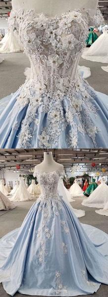Light Blue Satin Off Shoulder Sweep Train Wedding Dress_4