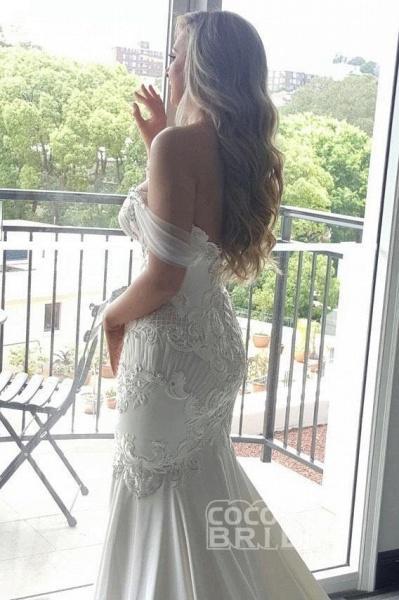 Gorgeous Mermaid Off the Shoulder Lace Appliques Wedding Dress_2