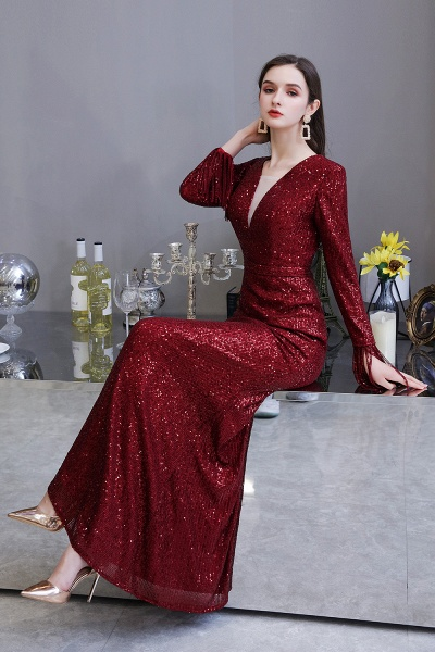Gorgeous Sequins Long Sleeve V-Neck Mermaid Evening Gowns_22