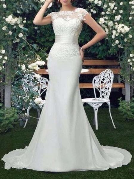 Scoop Cap Sleeves Lace Mermaid Wedding Dresses_1