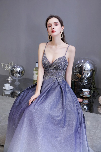 Elegant Spaghetti Straps Appliques Beads Ombre Prom Dress_8