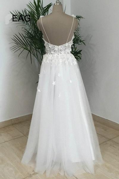 Simple White Tulle V Neck Beach Wedding Dress_2