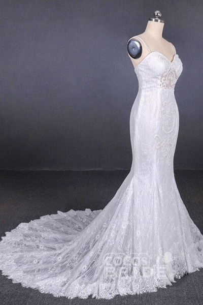 Spaghetti Straps Mermaid with Appliques Lace Beach Wedding Dress_3