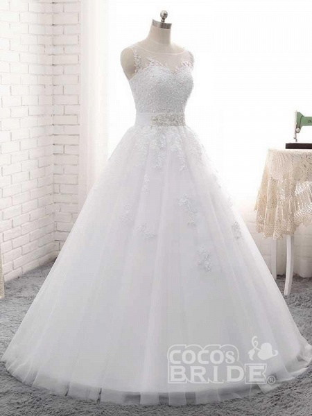 Elegant Lace-Up Ball Gown Wedding Dresses_3