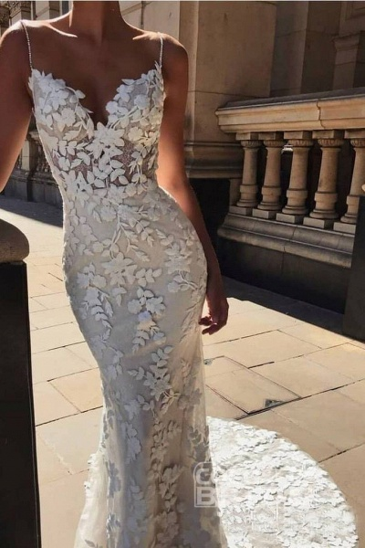 Vintage Spaghetti Strap Mermaid Lace Appliques Boho Wedding Dress_2