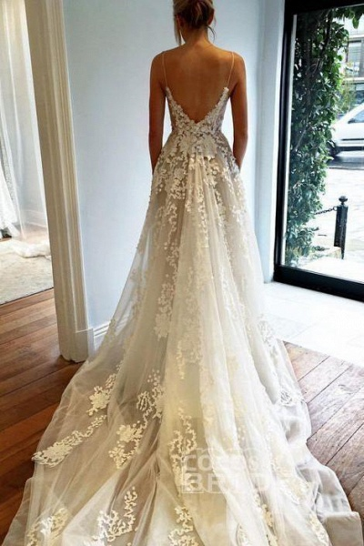 Spaghetti Strap V Neck Beach Court Train Tulle Wedding Dress with Lace_2