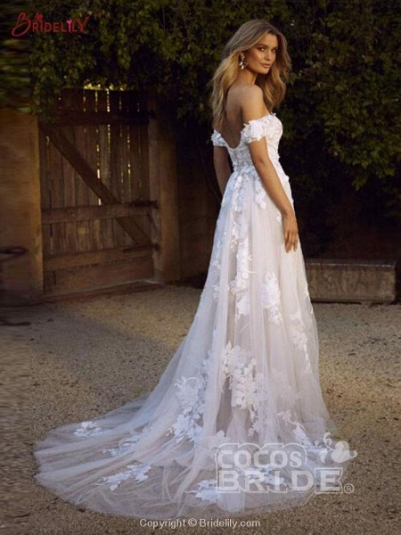 Gorgeous Open Back Appliques Tulle A-line Wedding Dresses_4