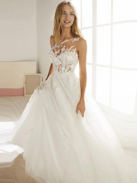 Romatic Lace Tulle Wedding Dresses_1