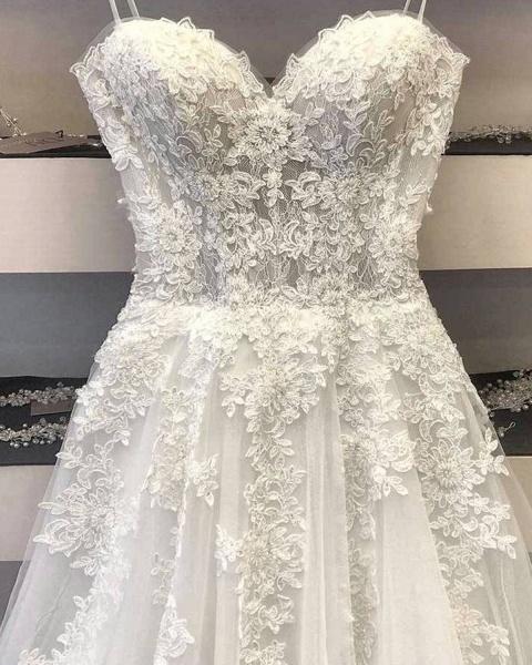 A Line Lace Wedding Dress 2021 Princess White Long Formal Bridal Gown_3