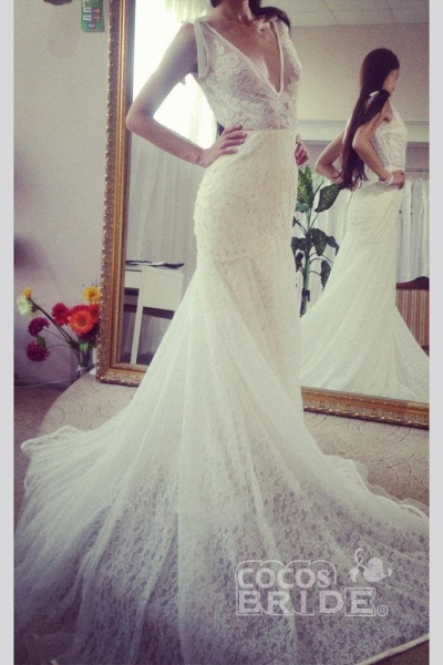 Neck Sleeveless Mermaid Gown With Deep V Back Long Lace Wedding Dress_4