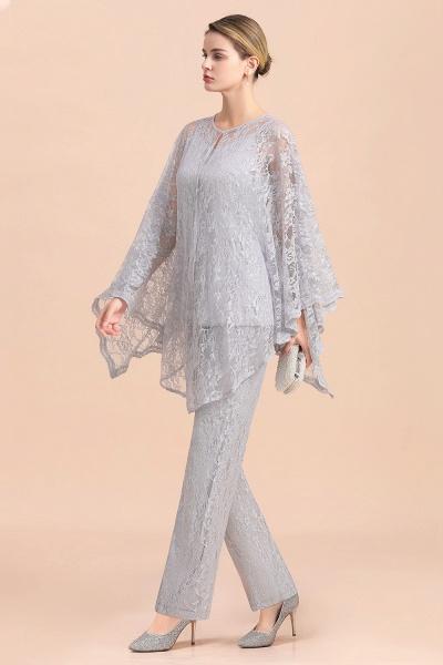 V-Neck Straps Appliques Silver Lace Wraps Mother of Bride Jumpsuit_6