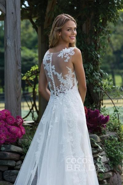 Vintage V Neck Sleeveless Tulle Appliqued Wedding Dress_4