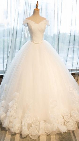 White Organza Off-Shoulder Wedding Dresses_1