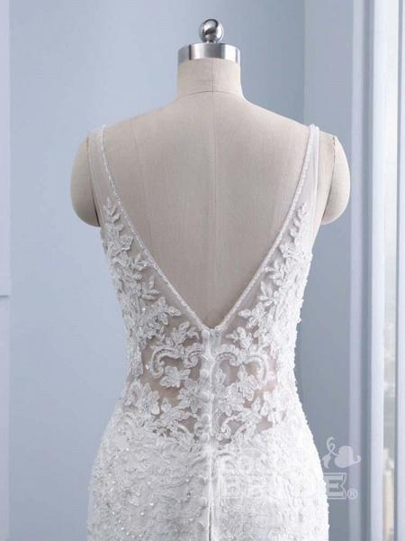 Elegant V-neck Lace Mermaid Wedding Dresses_6