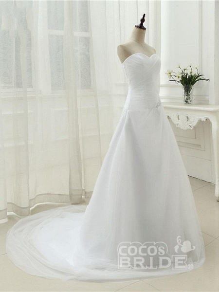 Gorgeous Strapless Ruffle Beaded Tulle Wedding Dresses_4