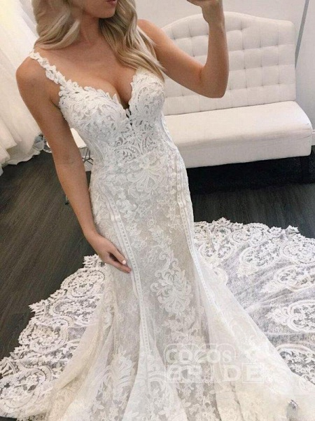 Gorgeous Straps Mermaid Train Lace Wedding Dress_3