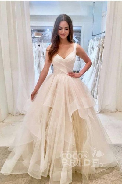 Puffy Straps Long Beach Unique Cascading Ruffles Wedding Dress_3