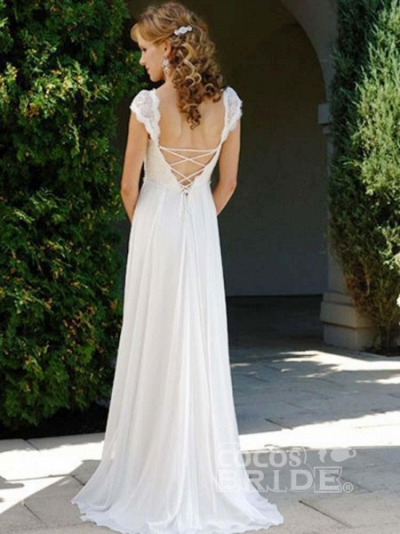 Fashionable V-Neck Cap Sleeves Lace-Up Ruffles Wedding Dresses_2