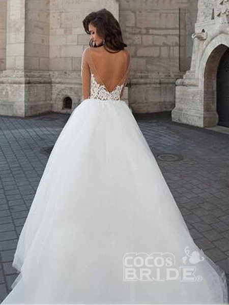 New Long Sleeve Backless Lace A-Line Tulle Wedding Dresses_2