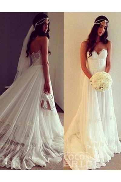 Chic Boho Beach Sweetheart Lace A Line Wedding Dress_4