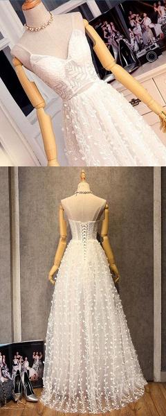 Sweetheart Long Spaghetti Straps Wedding Dress_6