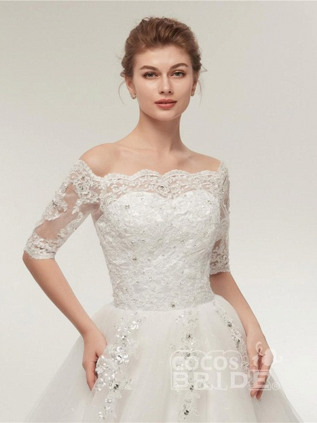 Off-the-Shoulder Half Sleeves Lace Ball Gown Wedding Dresses_4