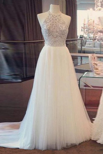 Simple White Tulle Open Back Long Lace Wedding Dress_1